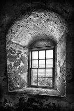 Bald Head Island,Old Baldy Lighthouse,black and white,window