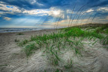 Coastal Photos from the Eastern Seaboard Gallery, Crepuscular rays, Oak Island  NC Sand dunes, Sea Grass