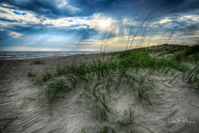 Coastal Photos from the Eastern Seaboard Gallery, Crepuscular rays, Oak Island dunes, Sand Dune, Sea Grass