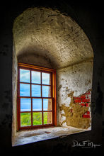 Blue Sky, Old Baldy Lighthouse window, Bald Head Island, North Carolina.