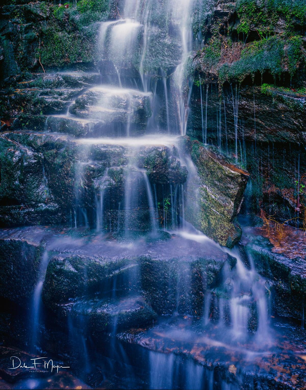 4x5 Fuji 50 Velvia, Cedar Creek Canyon, moss rocks, Petit jean Mtn, rivers streams and waterfalls gallery, spring 2009, water fall, photo