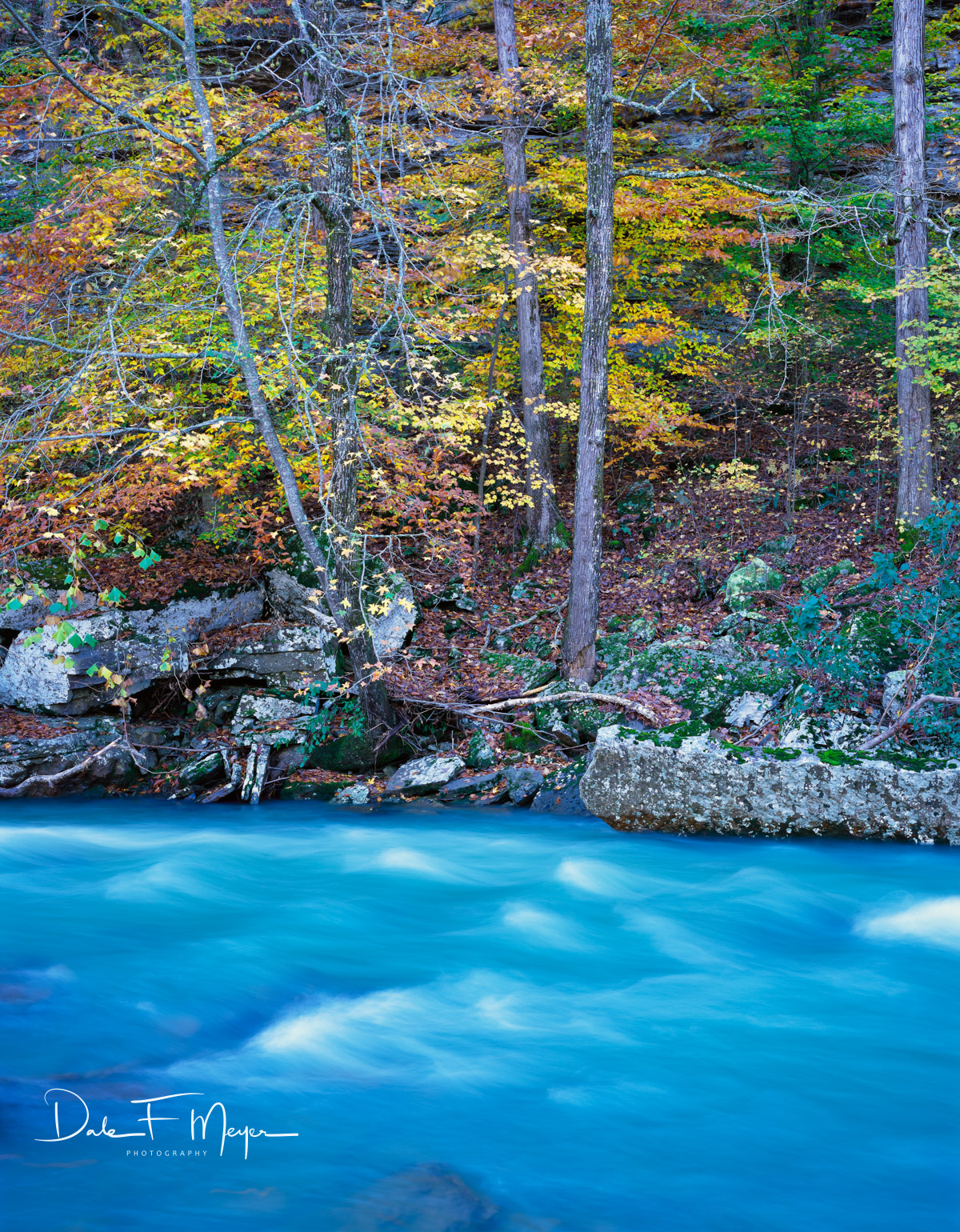 The beautiful Mulberry River in the glory of Fall. A rare Fall of high water and fall color made this a veryspecial image...
