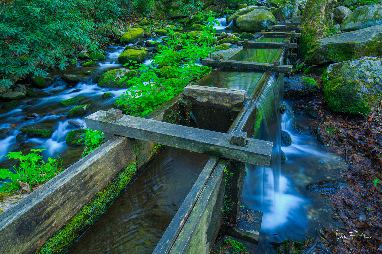 A section of the Old Flume that was built to feed water to the old Reagans Mill built in 1895 next to the Roaring Fork Creek...