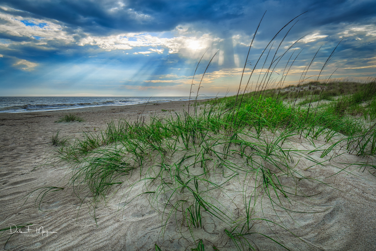 Coastal Photos from the Eastern Seaboard Gallery, Crepuscular rays, Oak Island  NC Sand dunes, Sea Grass, photo