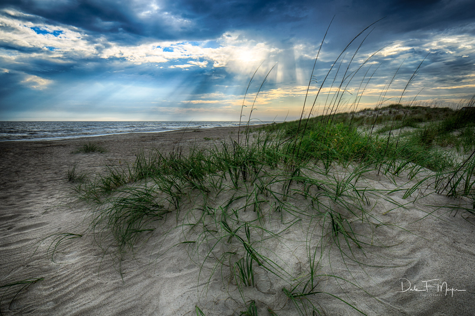 Coastal Photos from the Eastern Seaboard Gallery, Crepuscular rays, Oak Island dunes, Sand Dune, Sea Grass, photo