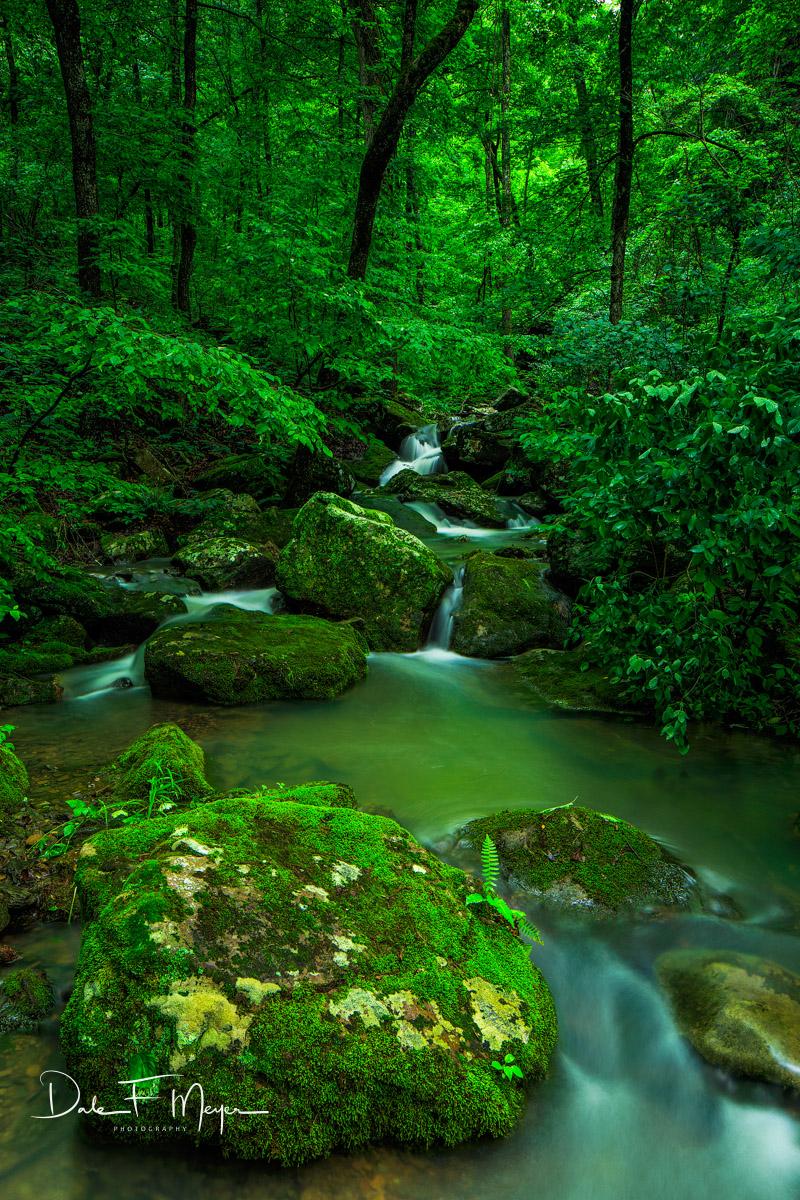 North Arkansas,falling water road,mossy boulder,spring 2015,wooded creek, photo