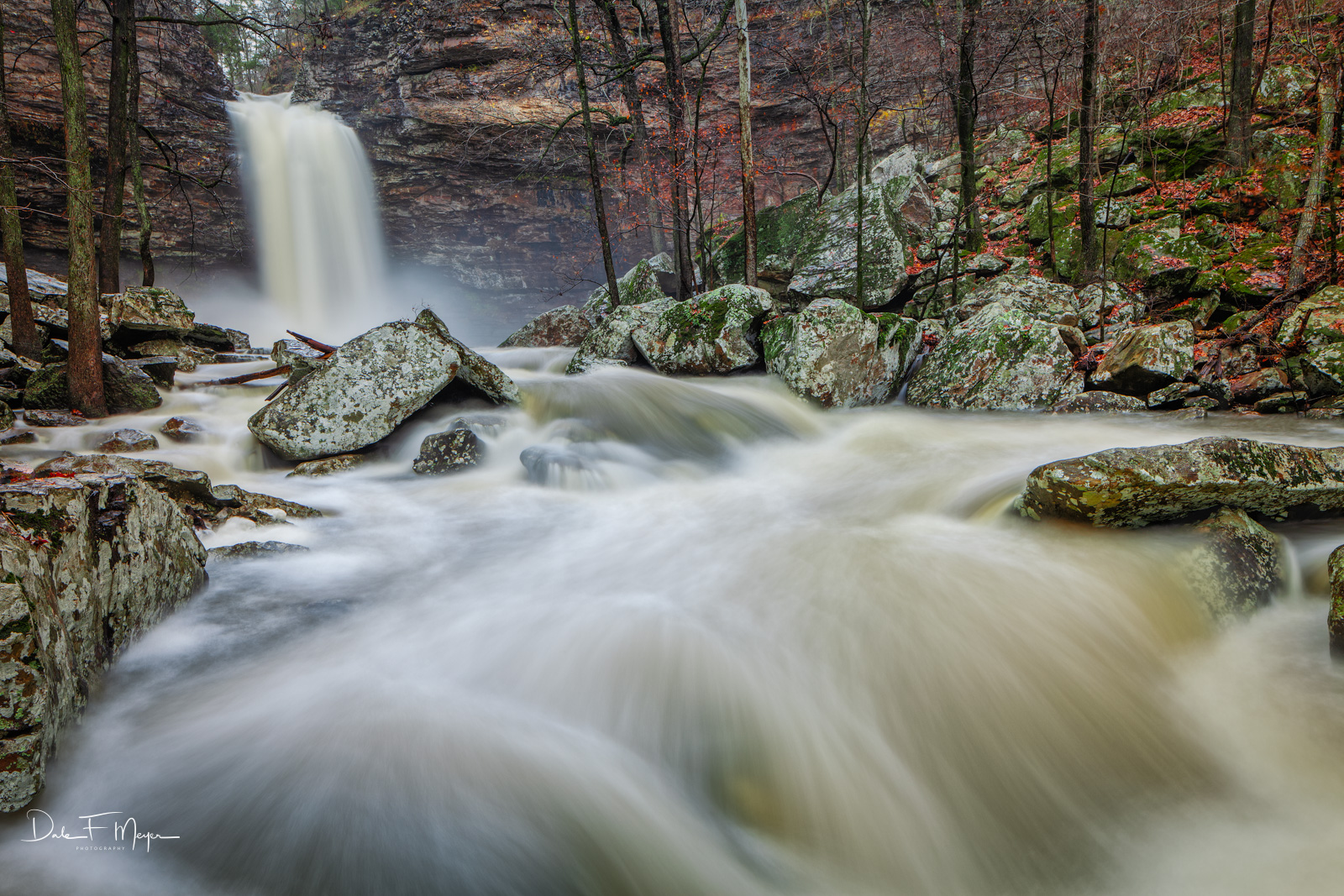 Cedar Creek,cedar falls,high water,late fall,petit jean,rivers streams and waterfalls gallery, rocks,water fall, photo