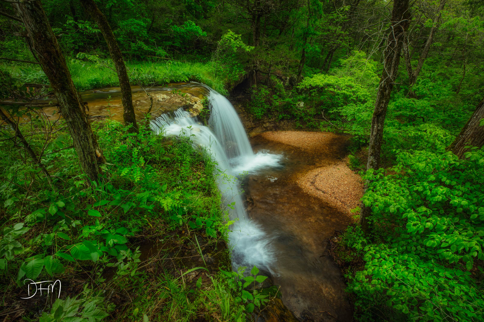The late spring full flow of the Glory B Waterfall in North West Arkansas.