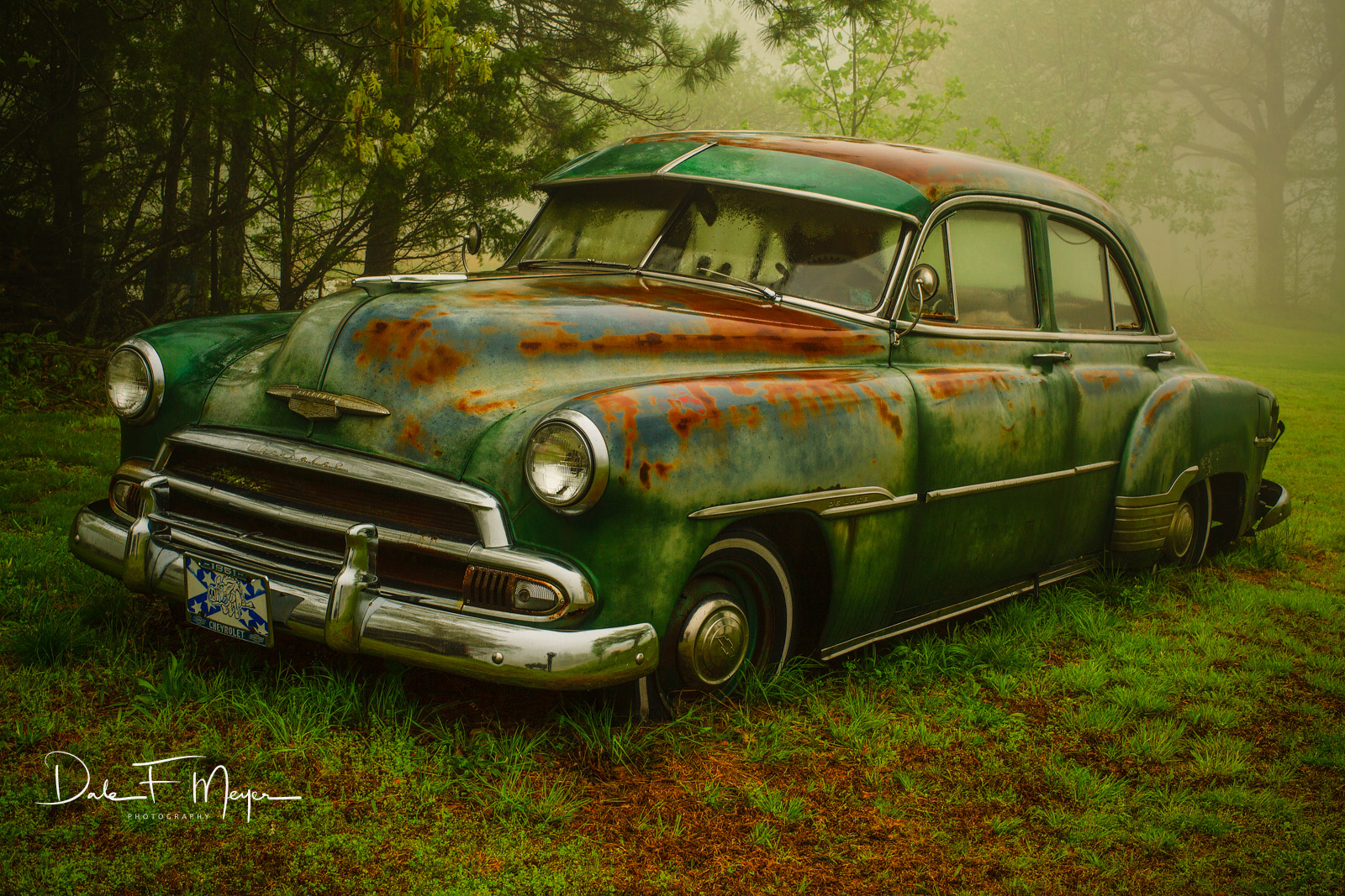 1951 Chevrolet Sedan,fog,old car,rain,time gone by gallerie, photo