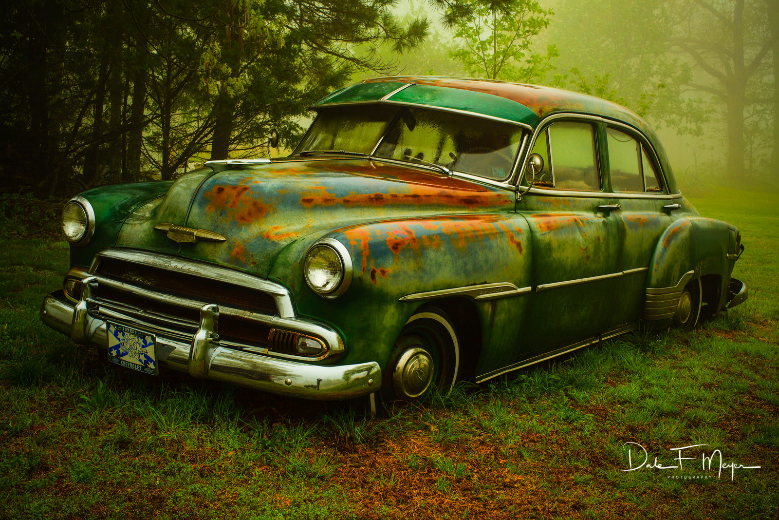1951 Chevrolet Sedan, fog, old car, rain, time gone by gallerie, photo