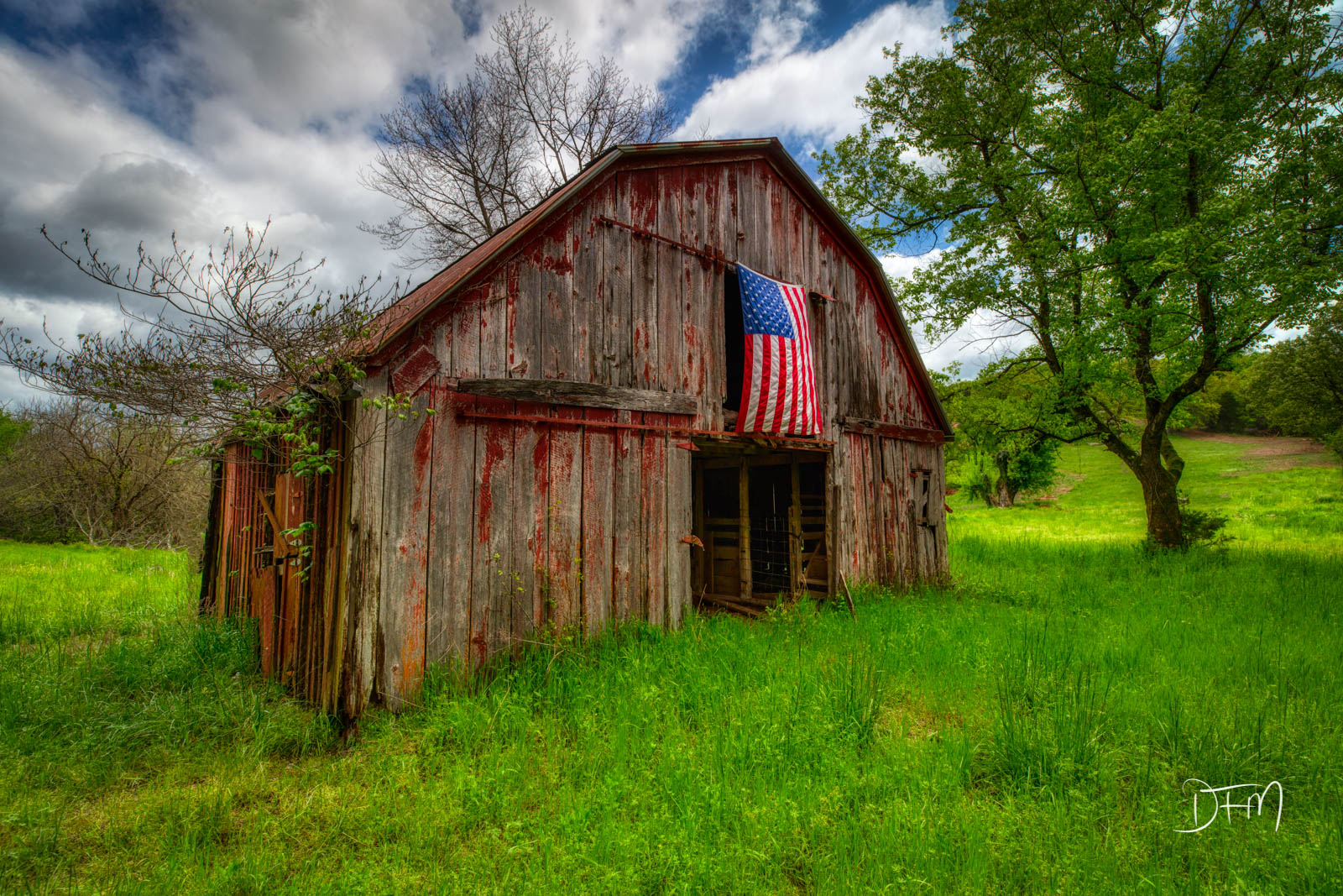 Old Glory on an Old Barn, anda beautiful spring day as a rain event began to clear withblue sky breaking through....
