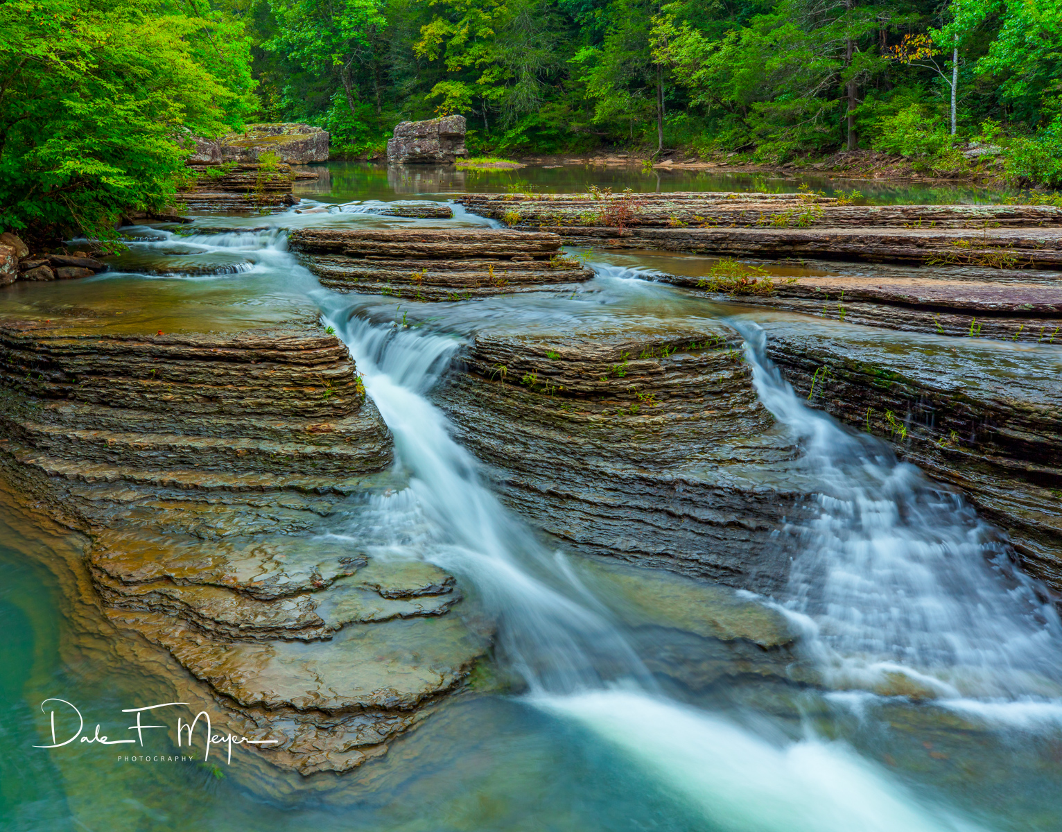 Water flowing at Six Finger Falls on Falling Water Creek in August of 2018. Its a rare Sight but so beautiful and the gentle...