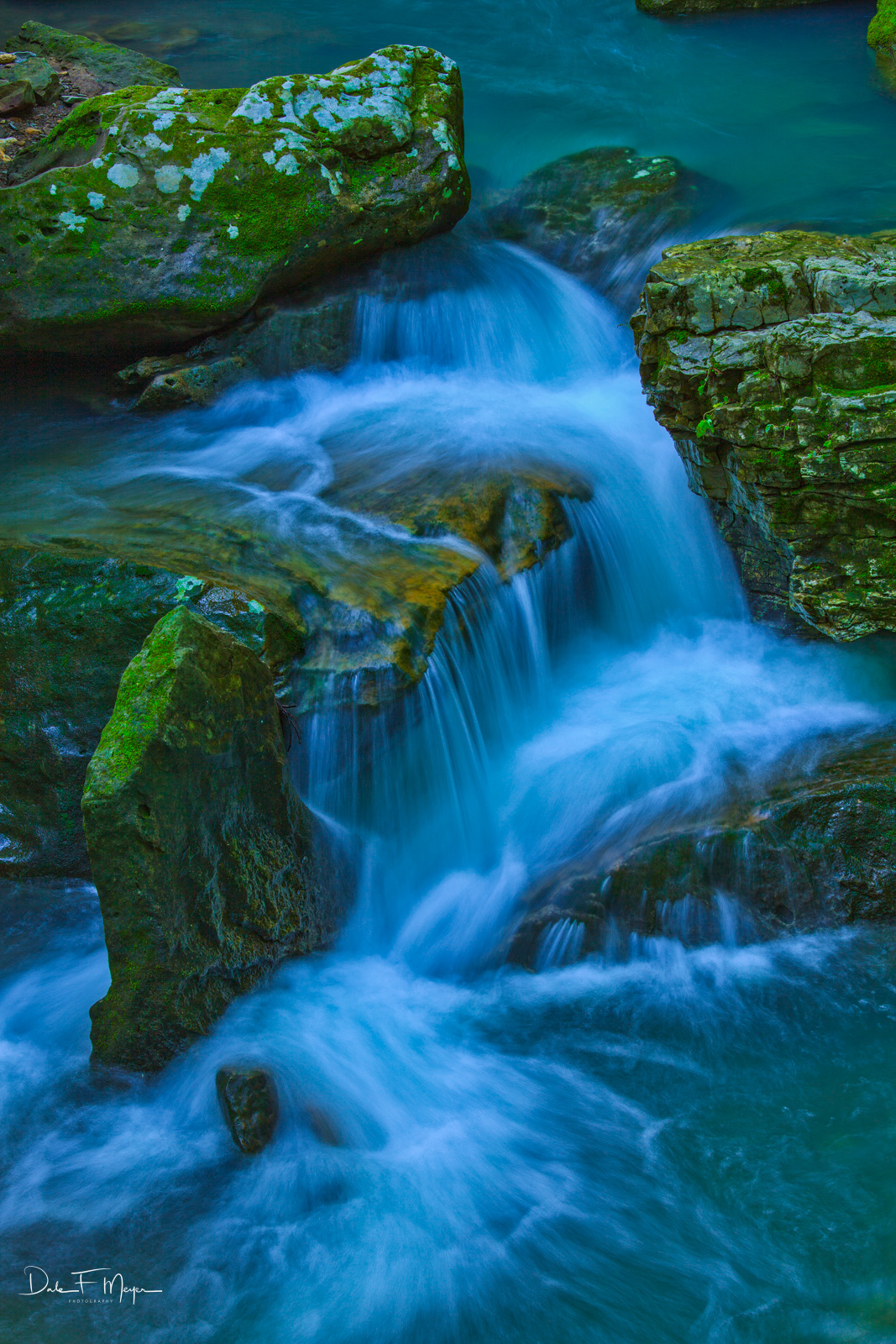 A rush of spring water in the upper Smith Creek Natural Area North Arkansas.