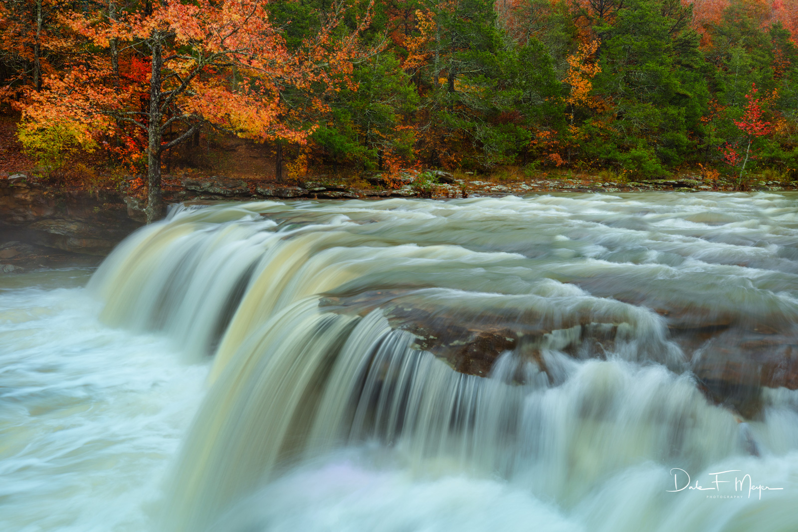 Fall 2018, Falling Water Falls, River Streams and Waterfalls Gallery. Ozark National Forest Arka, high water