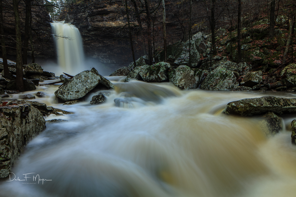 Cedar Creek,cedar falls,high water,late fall,petit jean,rivers streams and waterfalls gallerie,rocks,water fall, photo